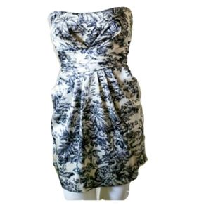 Mystic floral above knee strapless dress